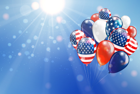 Balloon with United State of America Flag fly to beautiful sky copy space for text. Vector illustration. Illustration