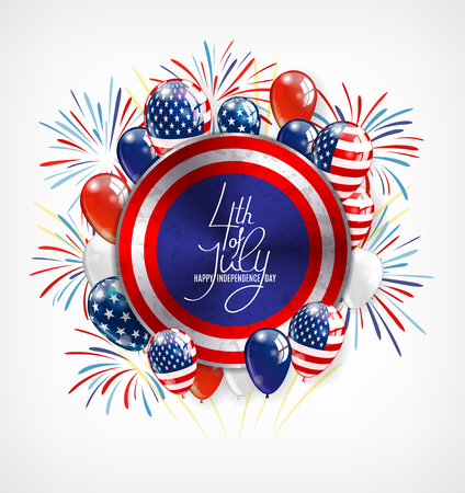 silver: 4th of July Independence Day greeting card , banner or invitation template. Round button with patriotic balloons and lettering. Vector illustration Illustration