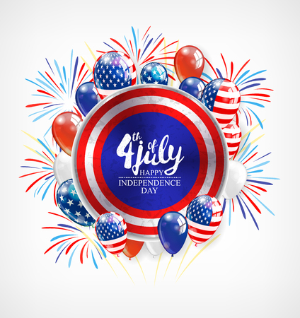 Independence day background with round banner and balloons, vector illustration Illustration