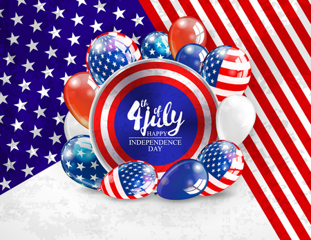 4th july USA Independence day greeting card. vector illustration