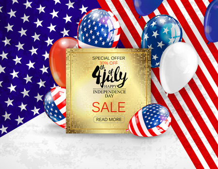 Independence day sale banner template design. Golden plate on patriotic colors background, Vector