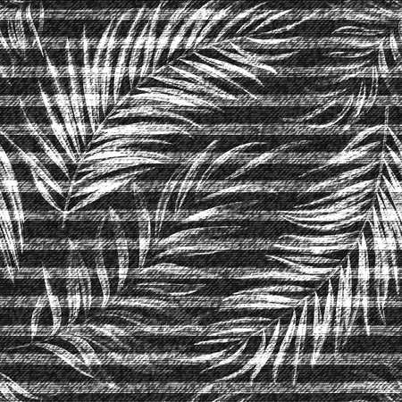 Vector denim exotic palm leaf seamless pattern. Faded jeans background with tropical plants. Фото со стока - 80609631