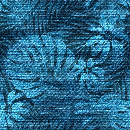 Modèle sans couture de vecteur denim feuille exotique. Fond de jeans délavés avec des plantes tropicales. Vecteurs