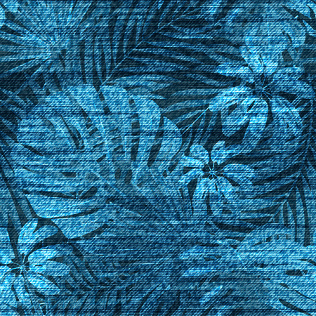 Vector denim exotic leaf seamless pattern. Faded jeans background with tropical plants.