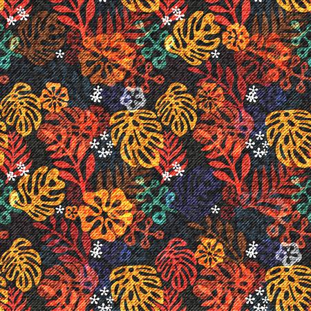 glade: Exotic leaf seamless print on denim backdrop. Bright tropic leaves on a dark blue background.