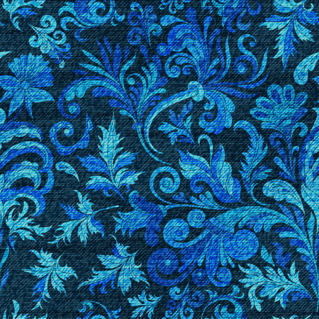 Vector denim ornamental doodle floral seamless pattern. Faded jeans background with fantasy flowers. Blue jeans cloth background Illustration