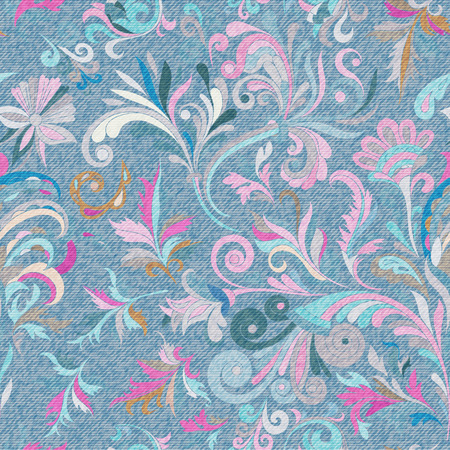 Light blue denim with colourful floral pattern. Beautiful ornamental floral seamless background. 일러스트