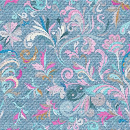 Light blue denim with colourful floral pattern. Beautiful ornamental floral seamless background. Ilustração