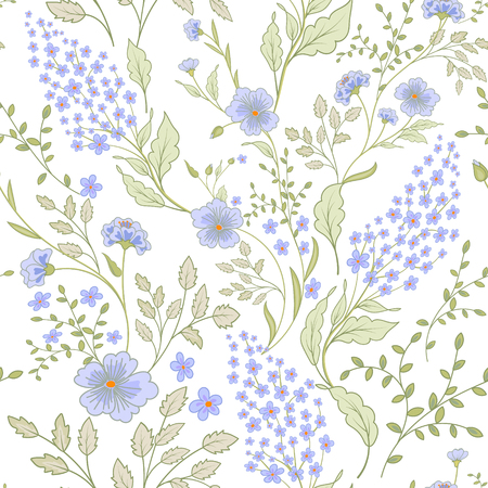 Calico delicate pink green colors pattern. Cute seamless cute small flowers for fabric design. Calico pattern in country stile. Trendy handpainted millefleurs.