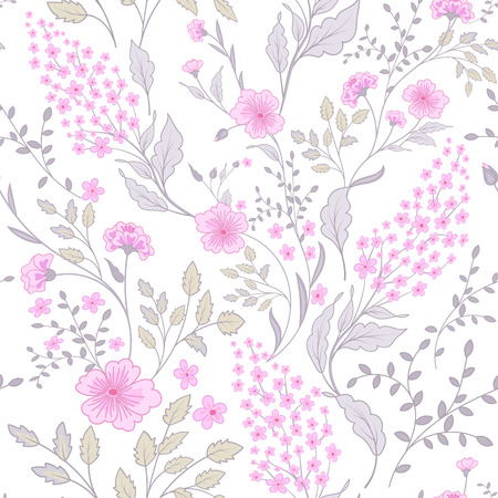 Calico delicate pink green colors pattern. Cute seamless small flowers for fabric design. Calico pattern in country stile. Trendy handpainted millefleurs.