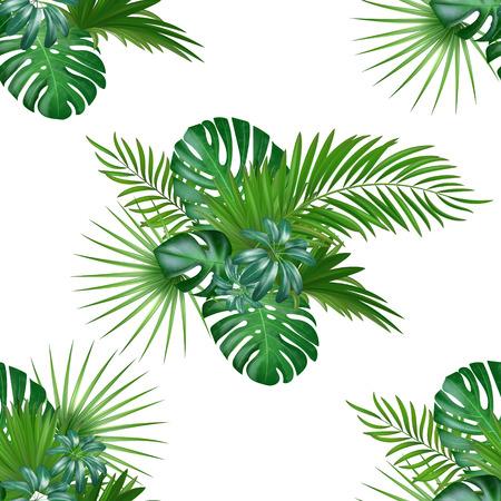 정글 식물과 열 대 배경입니다. 녹색 야자수와 이국적인 식물 원활한 벡터 열 대 패턴 단풍