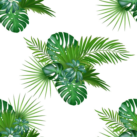 Tropical background with jungle plants. Seamless vector tropical pattern with green palm and exotic plants leaves