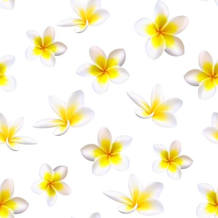 Plumeria Tropical Flowers. Seamless Pattern Background. Vector
