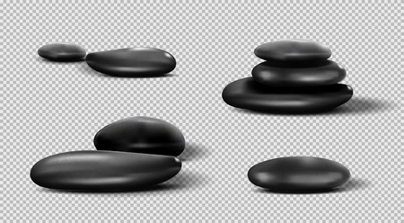 Collection of black SPA stones. Vector pebble set on transparent background