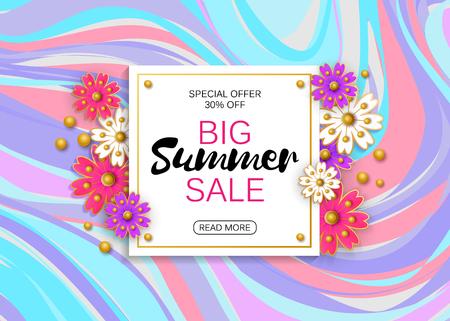 Summer sale banner design template. Vector illustration. Advertising template.