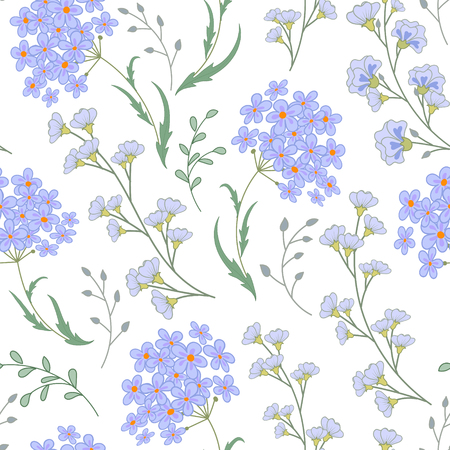 Cute vector seamless floral pattern with flowers and herbs. Delicate blue plants on white background.