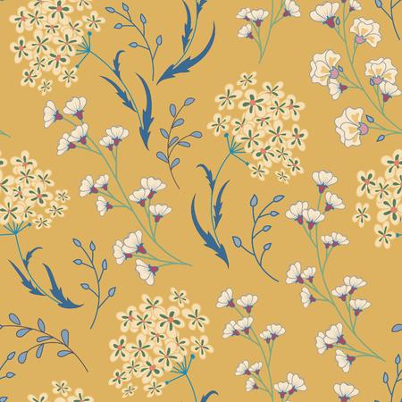 Leuk vector naadloos bloemenpatroon met bloemen en kruiden. Gevoelige blauw-witte planten op beige achtergrond.
