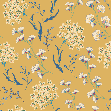 Cute vector seamless floral pattern with flowers and herbs. Delicate blue white plants on beige background.