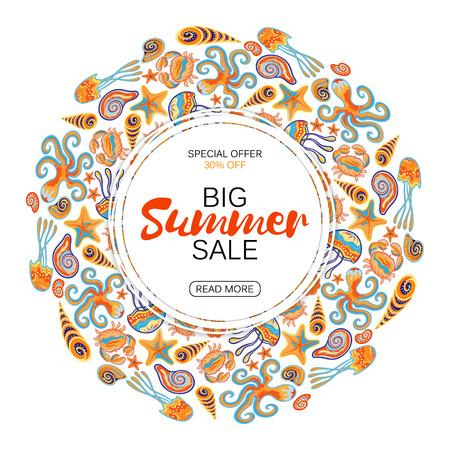 Summer sale round frame marine life. Vector illustration. Hand draw lettering