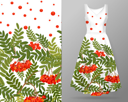 Vertical autumn rowanberry seamless pattern on summer dress mock up. Detailed intricate hand drawing background. Chaotic distribution of elements. Red and green. EPS10 vector illustration. Illustration