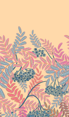 Vertical seamless background with pastel pink and blue berries and branches of ripe rowan on beige background. Hand drawn illustration