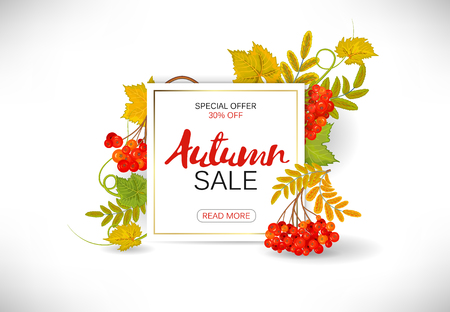 Sale banner with bright autumn leaves. Vector illustration template banners. Wallpaper, flyers, invitation, posters, brochure, voucher discount. Illustration