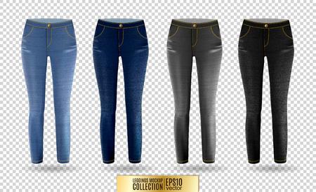 Blank leggings mockup set, blue and gray denim on transparent background. Clear leggins template. Cloth pants design presentation. Sport pantaloons stretch tights model wearing.