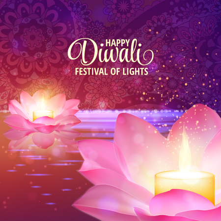 buddha lotus: Diwali greeting background. 3D Vector. Festival of lights illustration. Lotus Oil Lamp.