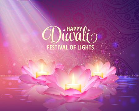 Diwali greeting background. 3D Vector. Festival of lights illustration. Lotus Oil Lamp.