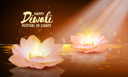 buddha lotus: Diwali. Vector. Festival of light background. Greeting background with lotus flowers and a burning candle inside.