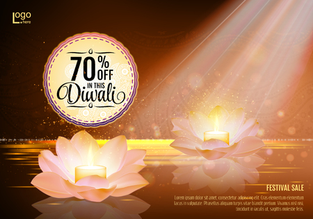 diwali celebration: Diwali Festival Offer Poster Design Template with Lotus water lanterns and fireworks. Brown