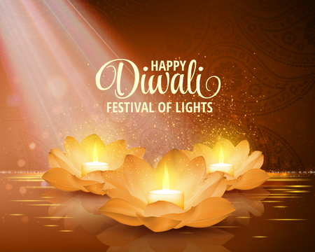 buddha lotus: Happy Diwali. Vector. Festival of light background. Greeting background with golden lotus flowers and a burning candle inside. Illustration