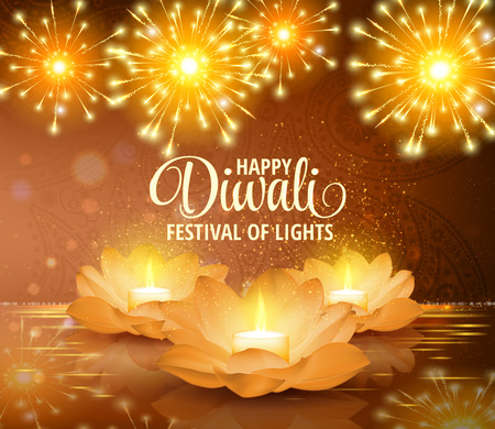 Happy Diwali. Vector. Festival of light background. Greeting background with golden lotus flowers and a burning candle inside. Vettoriali
