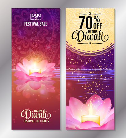 festive occasions: Vertical Diwali Festival Offer Poster Design Template with Lotus water lanterns and fireworks. Vector flyer set for festival of lights. Illustration