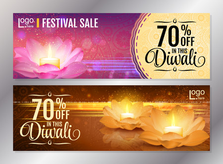 holiday shopping: Horizontal Diwali Festival Offer Poster Design Template with Lotus water lanterns and fireworks. Vector flyer set for festival of lights.