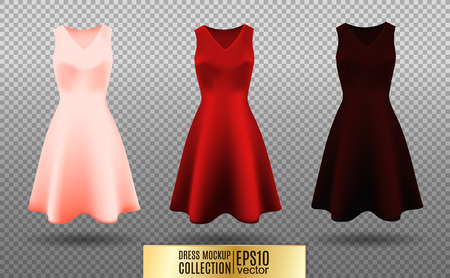 small business: Womens dress mockup collection. Dress with medium pleated skirt. Realistic vector illustration. Festive dress without sleeves. Pink red and vinous variation. Illustration
