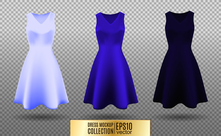 Women's dress mockup collection. Dress with long pleated skirt. Realistic vector illustration. Fully editable handmade mesh. Festive dress without sleeves. Light, bright and dark blue variation. 일러스트