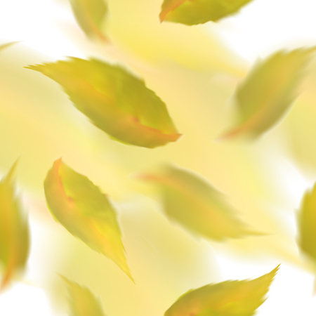 Yellow leaves seamless pattern. Blurred veector leaf on watercolor imitation background Illustration