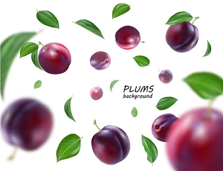 Flying purple plums background. Realistic quality vector. Eps10. Vetores
