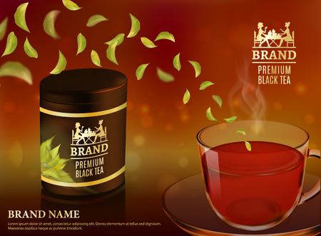 Tea advertising flyer, poster or banner template. Black tea ad, with tea leaves and package jar, 3d illustration. Quality realistic vector