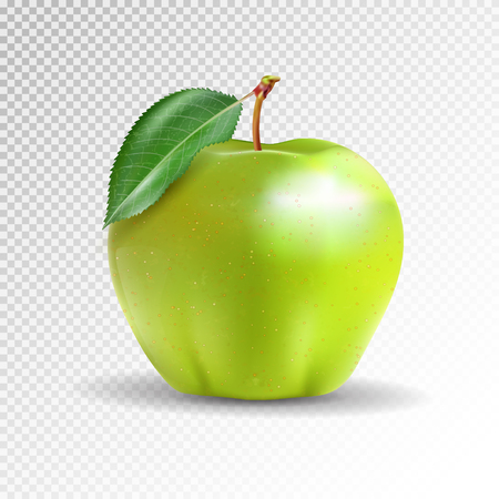 Perfect fresh green apple isolated on transparent background.