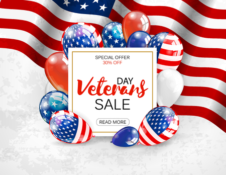 americana: Veterans day sale banner template design. White plate with lettering on patriotic background. Vector