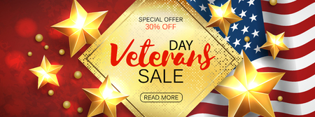 Veterans Day greeting card horizontal banner with golden stars anf flag. Vector Çizim