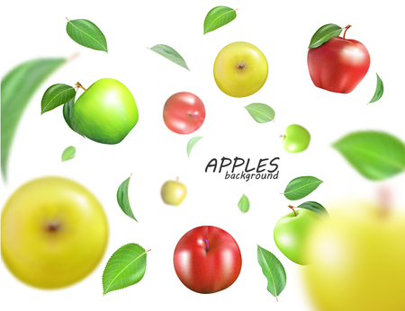 Vector flying colorful apples. Advertising fresh food template. Realistic 3D apples