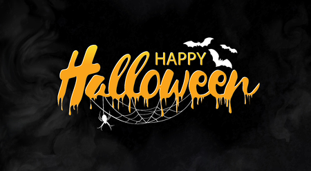 of helloween: Happy Halloween vector lettering. Holiday calligraphy with spider and web for banner, poster, greeting card, party invitation. Isolated illustration.
