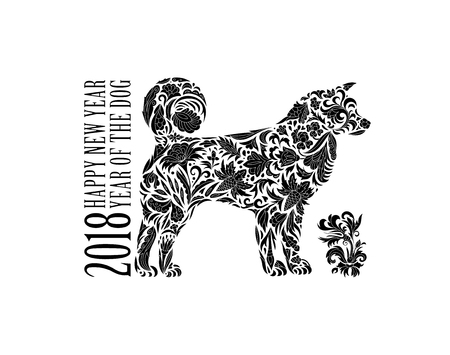 newyear: 2018 year of the Dog design.