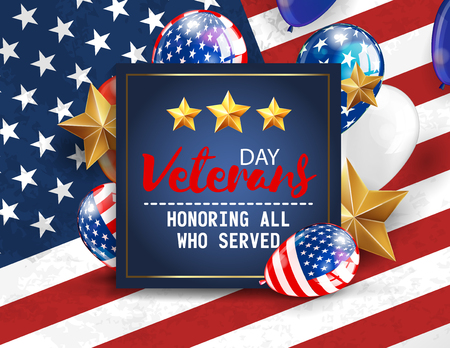 Veterans day greeting illustration. Navy blue plate with lettering on patriotic background. Vector Illustration