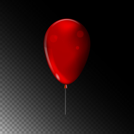 Red balloon. Vector object on dark background.