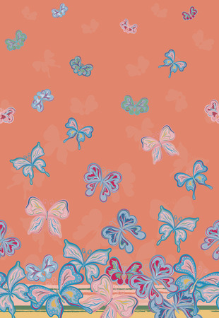 Vector vertical seamless pattern with hand drawing detailed colorful butterflies. Pastel pink blue on salmon background. Иллюстрация