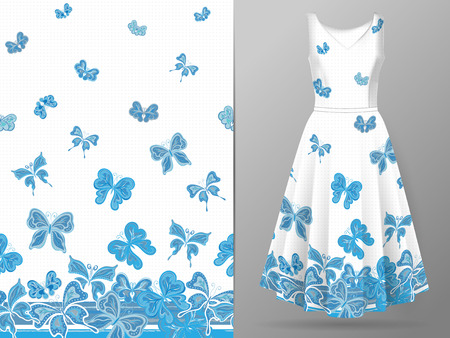 Vertical seamless pattern with hand draw butterfly on dress mockup. Vector
